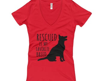 Women's V-Neck Rescued is My Favorite Breed T-shirt