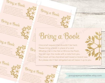 bring a book instead of a card insert printable baby shower DIY pink gold glitter snowflakes baby girl digital - INSTANT DOWNLOAD