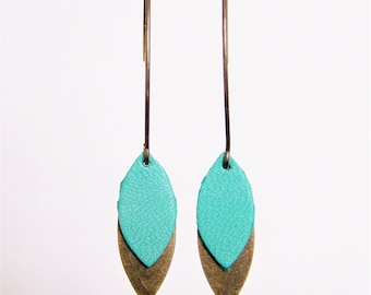 Neptune green leather and brass petal earrings