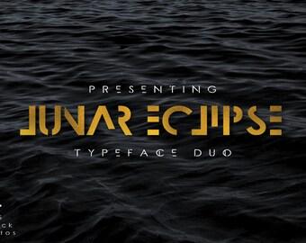 Digital Font - Lunar Eclipse - Font Duo - Modern Font - Futuristic Font