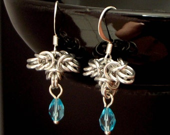 Ice Blue and Silver Aluminium Chainmaille, Chainmail Earrings, Serenity Blue Crystal Earrings, Byzantine Weave Chainmaille, Elegant Jewelry