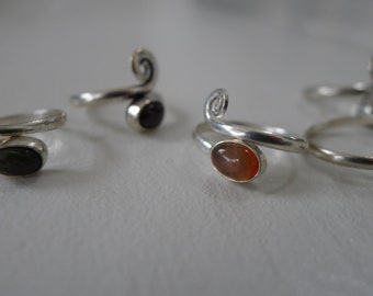 Silver Gemstone Adjustable Rings