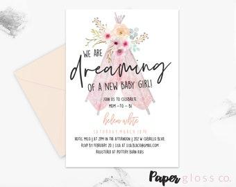 Boho Baby Shower Invitation Girl, Tee pee, Pink, Flower, Printable Template