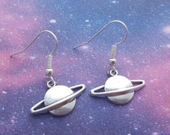Planet Earrings, Saturn Earrings, Space Jewellery, Outer Space Jewelry, Geeky Jewellery, Cute Earrings, Galaxy Earrings, Galaxy Jewelry