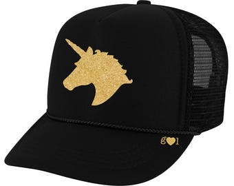 unicorn hat ADULT - glitter trucker hat (multiple colors)