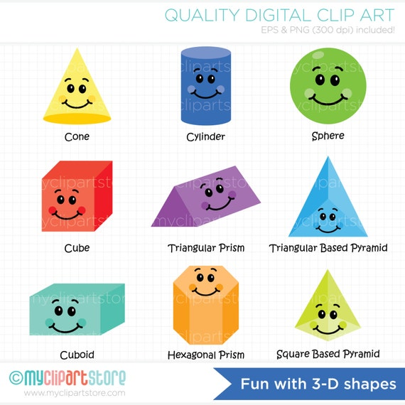 3D Shapes Clip Art Black And White | World of Example