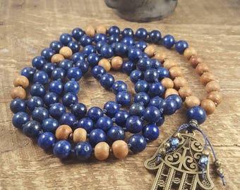 Mala Beads, Mala Necklace, 108 Bead Mala Necklace, Meditation Beads, Hamsa Hand Mala