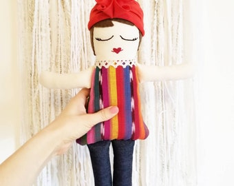 Handmade Doll, woven fabric, head wrap