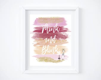"""I Dream of Jeannie Watercolor Brush Art Print with Quote:  8"""" x 10"""""""