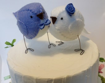Blue birds - Wedding cake topper - lovebirds in periwinkle blue and white