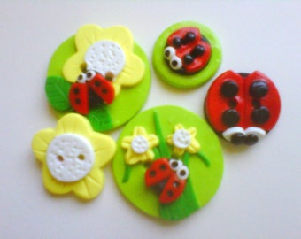Button Lady Bugs handmade polymer clay button set  ( 5 )
