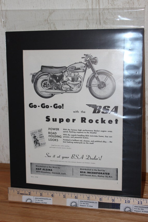 "1958 BSA Super Rocket 11"" x 14"" Matted Vintage Motorcycle Ad Art #5805amot12m"