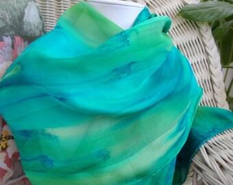 Green Teal Blue Tropical Island Silk Scarf