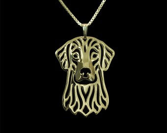 Flat Coated Retriever - Gold pendant and necklace