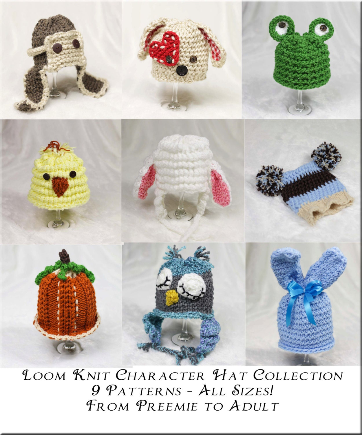 Loom Knit Character Hat PATTERN Collection 9 Adorable