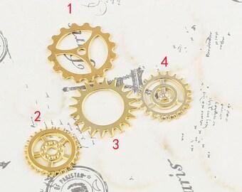 DIY  jewelry 50pcs antiqued gold plating 16k gold gear charm pendant 18mm