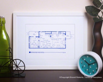 Edith and Archie Bunker House Floor Plan - All in the Family - Blueprint Wall Art - Art print - Christmas Gift - Gift for Dad - Gift for Mom