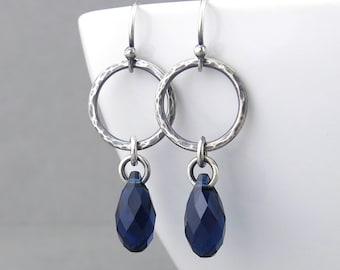 Simple Silver Earrings Rustic Earrings Navy Blue Crystal Earrings Silver Hoop Earrings Boho Jewelry Hammered Silver Jewelry - Annabelle
