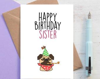 Pug card card for sister, cousin or friend Pug dog greetings card - Pug Lover