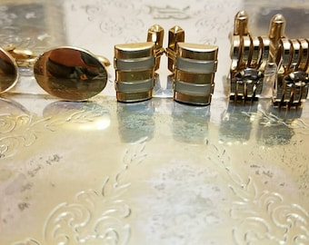 Various vintage gold plated cufflinks as shown