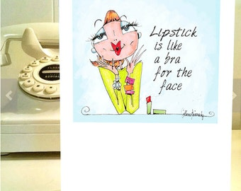 Sassy birthday card etsy lipstick bra birthday card sassy cards for women witty funny women birthday cards bookmarktalkfo Images