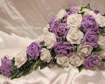 wedding Flowers Wedding Bouquet Brides Bouquet Lilac and Ivory or White and Ivory 20 inch Teardrop Diamantes Pearls Satin Ribbon