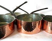 French Vintage copper pots and pans Set of 7 hammered set- FREE Shipping