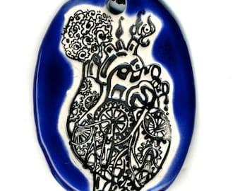 Mechanical Heart Ceramic Necklace in Cobalt Blue