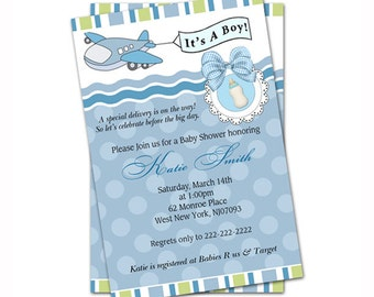 It's A Boy, Airplane Baby Shower Invitation - Digital file