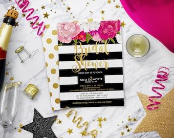 Bridal Shower Invitation | Floral Bridal Shower Invitation | Kate | Stripes Striped Invite | Gold | Black White | Print Your Own | Spade