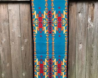Wool Table Runner-Turquoise, red, yellow, orange, black Tribal Design Runner-Condensed Turquoise-Native American Tribal Wool Runner, 65 X 18