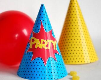 Instant Download Superhero Party Hats DIY Printable Super Hero Birthday Party