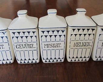 Sale Priced   Antique German Kitchen Canisters