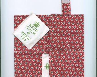 Tea Bag Wallet, AMERICANNA STARS, Four Pockets, Handmade,Fabric FREE Shipping USa, Holds Tea & Sweetener - Also Travel Jewelry Wallet