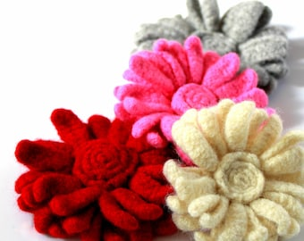 CROCHET PATTERN - Felted Flower Valentine Worsted Or Sport Weight Feltable Yarn