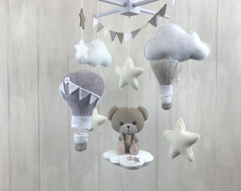 Baby mobile - teddy bear mobile - hot air balloon mobile - baby mobile - gender neutral mobile - cloud mobile - star mobile