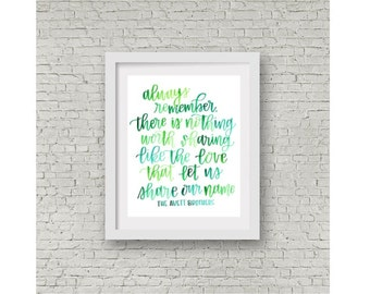 Avett Brothers Lyrics / Hand Lettering Wall Print / Calligraphy Print / Wedding gift / Avetts Quote / Love that Let Us Share Our Name / 8x10