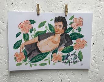JEFF GOLDBLUM - Blum where you are planted jurassic park print of acrylic painting