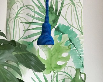 Lampe, garden pendant, crocheted in royal blue, 6 meter cord