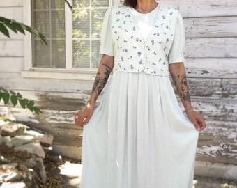 Vintage 90s dress,floral dress ,feminine long,maxi dress ,pastel color dress,modest dress,boho,gingham green dress,blue,S,M,made in USA,