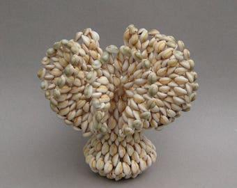Cowrie Shell Vase 1970s Vintage Seashell Vase Seashell Art Strung Shells Beach House Decor Excellent Condition