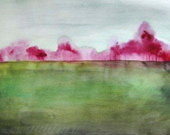 Landscape Artwork Painting - Watercolor Painting - Trees - Grace - 8x10 Giclee Print - Country Field Magenta Green Blue