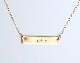 Gold Bar Name Plate Love Necklace
