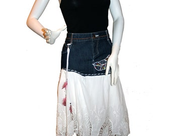 ON SALE! Altered Jean Skirt, Upcycled Denim Skirt, Eco-Friendly Clothing