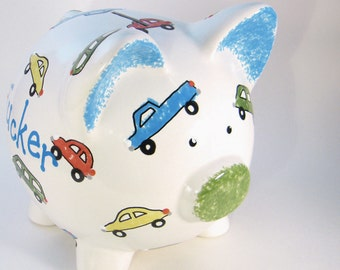 Cars & Trucks Piggy Bank - Personalized Piggy Bank - Automobile Bank - Car Savings Bank - Car Piggy Bank - Gas Money - with hole or NO hole