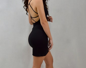 Strappy Black Dress   Lapis & Lace
