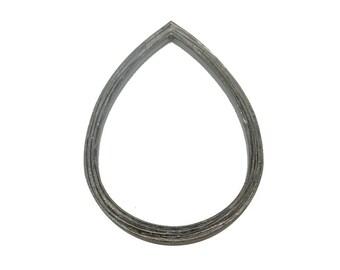 Teardrop Pendant -- Oxidized Sterling Silver Hammered Pendant (S98B7-13)