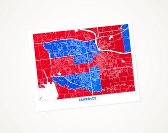 Lawrence Map Print.  Choose the Colors and Size.  University of Kansas Print. Jayhawk Wall Art.