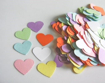 150 Confetti Conversation Heart Die Cuts 5/8 Inch Cut Outs, Scrapbook, Table Scatter, Cardstock Paper