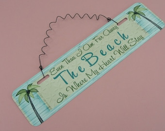THE BEACH | Metal Sign | Coastal Ocean Theme Beach House Cabin Vacation Home Wire Cute Home Decor Kitchen Front Door Gift 12in x 3in|